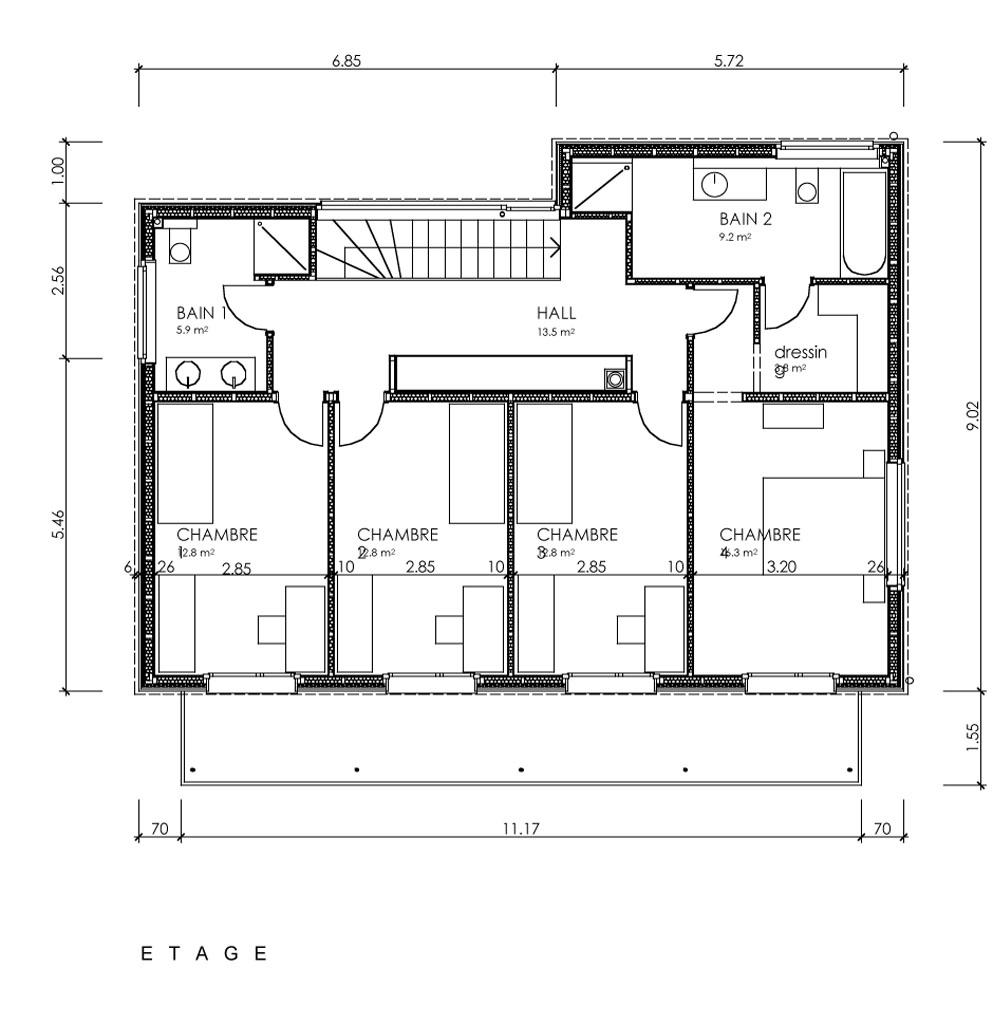 Plan en villa basse maison moderne for Plan villa basse moderne